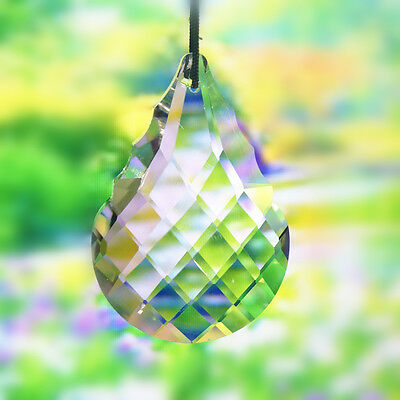 Clear Crystal Glass Hanging Lamp Prisms Part Decor Drops Curtain Pendant 50X35mm