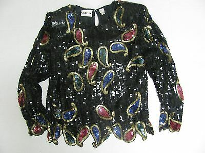 Vtg Swee Lo Sequin Top Shirt Black Paisley Womens Size S Small Cruise Evening Wr