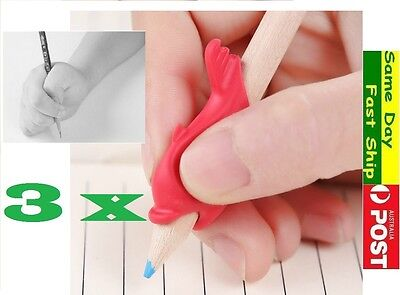 3x pencil grip kid Children Hand writing Correction Aid pen posture hold help