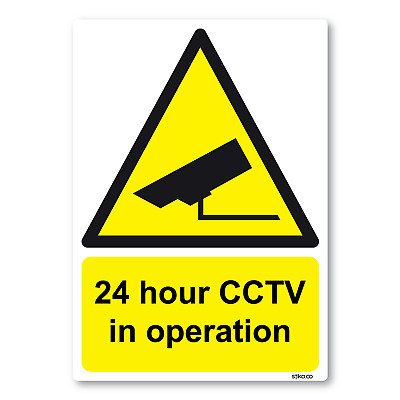 24 Hour CCTV in Operation Sign A6 105mm x 148mm Self-adhesive Vinyl Sticker