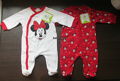 Disney Minnie Mouse Sleepsuit Baby Girls White Red Babygrow All In One Sleepwear