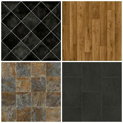 Cheap Vinyl Flooring-Brand New Lino-4m Wide. Non Slip-Free Delivery. Wood & Tile