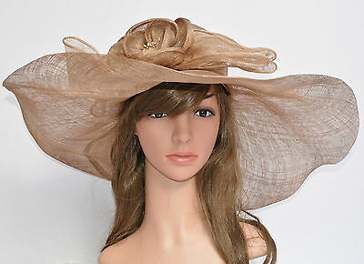 Church Kentucky Derby Carriage Wedding Wide Brim Woman's Sinamay Hat Taupe