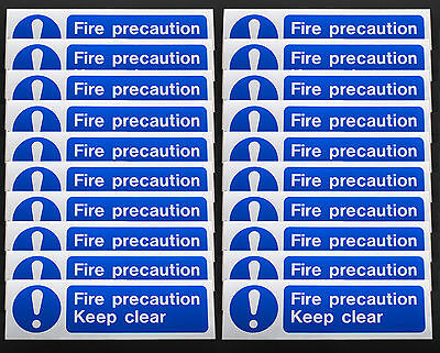 """20x """"Fire Precaution Keep Clear"""" Caution Stickers 100mm x 350mm Warning Safety"""