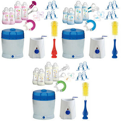 MAM All-In-One Starterset 23tlg Anti-Colic Flaschen Sterilisator Babykostwärmer