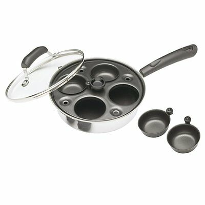 Kitchen Craft Induction Carbon Steel 4 Cup Hole Egg Poacher Pan and Cups