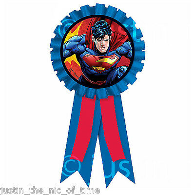 SUPERMAN Man of Steel Superhero Birthday Party Award Ribbon