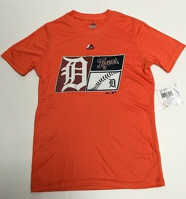 Detroit Tigers Official Majestic MLB Youth Athletic polyester T-Shirt New