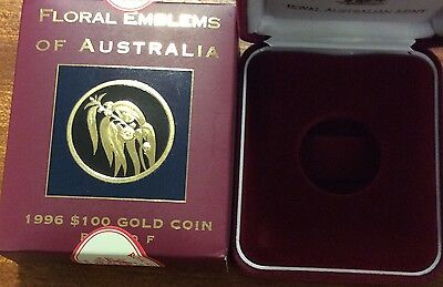 empty 1996 floral emblems of Australia  empty box and certificate