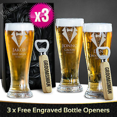 3 x Engraved 425ml Schooner Beer Glasses Boxed Personalised Wedding Favour Gift