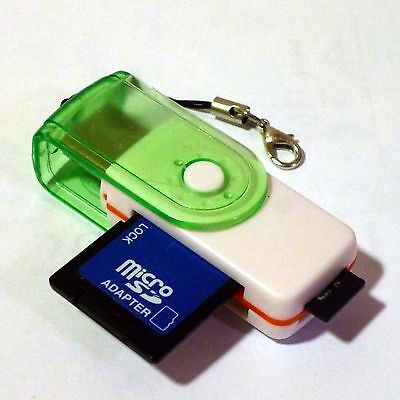 USB 2.0 SD Micro TF SDHC MS All in one Green Card Reader with Keyring Strap Incl