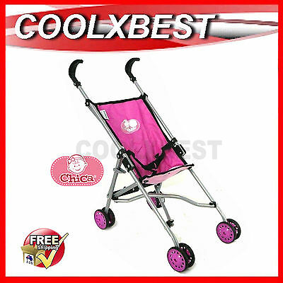 New Chica Deluxe Toy Pram Umbrella Stroller For Doll Pretend Play