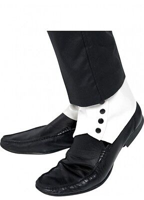 Adult 1920's Classic Gangster Spats Black and White Shoe Covers 1920s Costume
