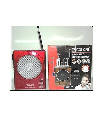 Golon Rx-188 Mic Radio Am Fm Portatile Con Ingresso Sd Usb Speaker Led Karaoke