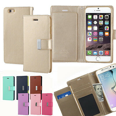 New Dual Wallet Leather Book Flip Case Cover For Apple iPhone Samsung Galaxy LG