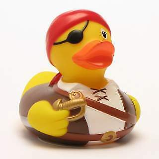 Rubber Duck Pirate with red bandana and eye patch
