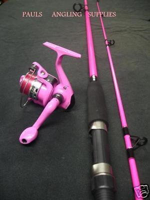 Fladen Festival Pink Fishing Rod & Pink Fishing Reel With Line Fitted to Reel