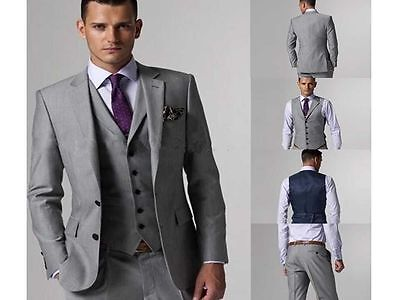Slim Fit Light Grey Groom Tuxedo Notch Lapel Best Man Groomsmen Men Wedding Suit