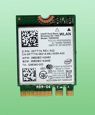 Original Intel Dual Band Wirseles-AC7260 Model:7260NGW 867Mbps BT 4.0 M.2 0KTTYN