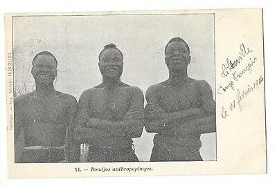 CONGO ETHNOLOGIE types Bondjos anthropophages cachet de paquebot