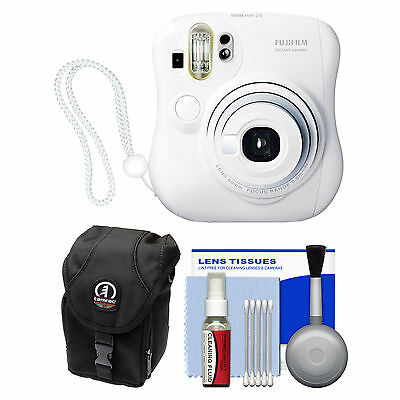 Fujifilm Instax Mini 25 Instant Film Camera White with Case & Cleaning Kit