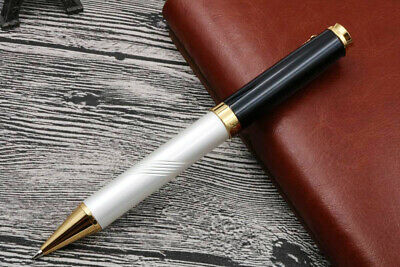 Jinhao 500 Black And Pearl White Twist Carved BallPoint Pen