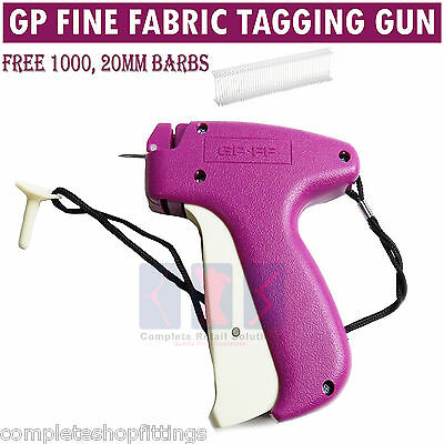 GP fine Fabric Tagging Gun System 1000 Barbs Kimble Tag Label for Clothes Sock
