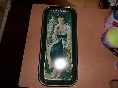 """3 Coca Cola 1973 Tin metal Long Tray Flapper Girl Lady Brunette 1921 Green 19"""""""
