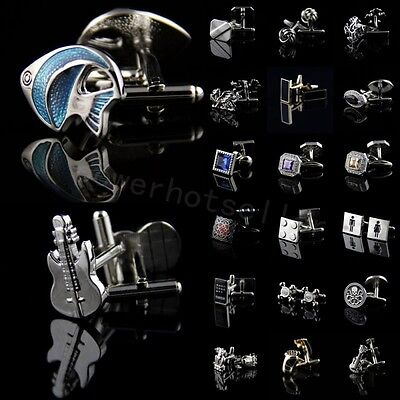 New Mens Novelty Stainless Steel Crystal Wedding Party Gift Prom Shirt Cufflinks