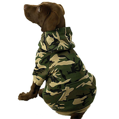 LARGE GREEN CAMO DOG HOODED SWEATSHIRT SWEATER clothes L clothing CLEARANCE!!