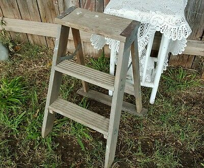Primitive 3 Step Ladder Vintage Wooden Weathered Shabby Chic 23-Inch Tall USA