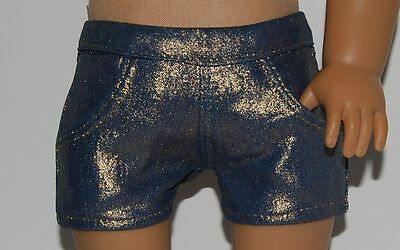 """GOLD COATED STRETCH DENIM SHORTS - Doll Clothes - fits 18"""" American Girl Dolls"""