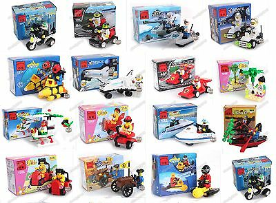 LOT OF 16 Mini building toys with 16 Minifigures ALL NEW in plastic bags