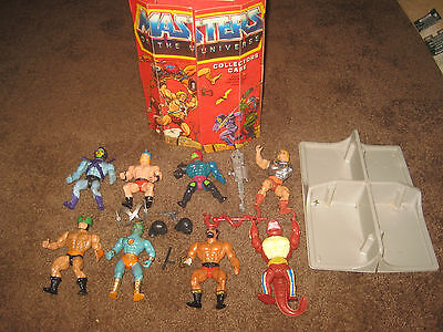 HE MAN MASTER OF THE UNIVERSE STORAGE CASE 8 VINTAGE FIGURES LOT 1