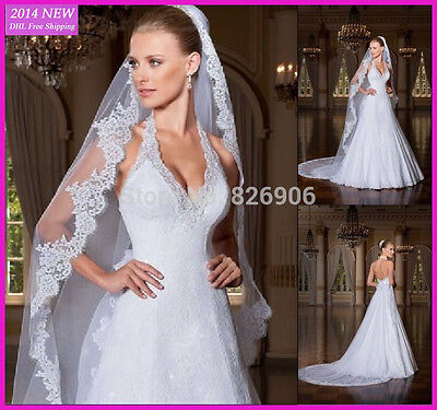 White Ivory Cathedral 1 Tier Wedding Veil Lace Purfle 3Meter Long With Comb
