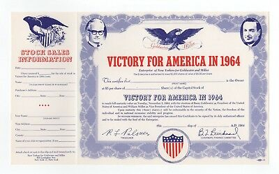 1964 Victory for America Stock Certificate - Goldwater and Miller
