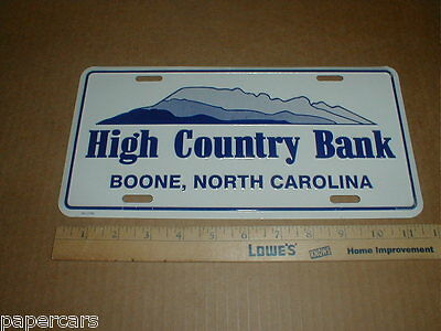 High Country Bank Boone North Carolina NC metal License Plate Tag topper Yadkin