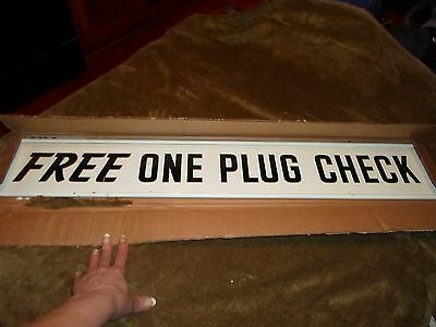 """NOS, NIB, 60s-70's, double-sided,""""Free One Plug Check"""", metal,advertising sign"""