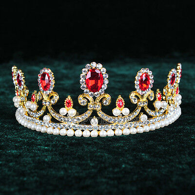 Ruby Crystal Tiara Bridal Pearl Royal Crowns Wedding Pageant Crown Rhinestone