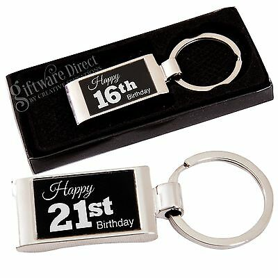 Birthday Engraved Keyring Choice of Design 16th 18th 21st 30th Present Gift Box