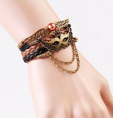 NEW Hot Infinity Love Wings /mask Leather Cute Charm Bracelet Bronze DIY SL217C