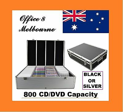 BRAND NEW Aluminium 800 x CD DVD Blu Ray Storage Box Lock Case Black or Silver