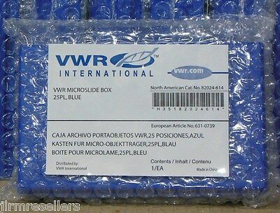 "VWR 82024-614 25-Place Blue Microscope Slide Storage Boxes 5.5x3.5x1.375"" x24"