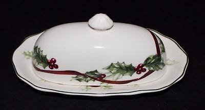 Charter Club WINTER GARLAND 1/4 Pound Covered Butter Tray
