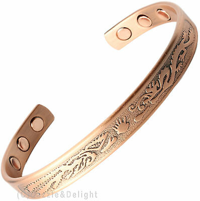 Magnetic Bracelet Ladies Mens Bangle Copper Dragon Fire Bio Arthritis Magnet