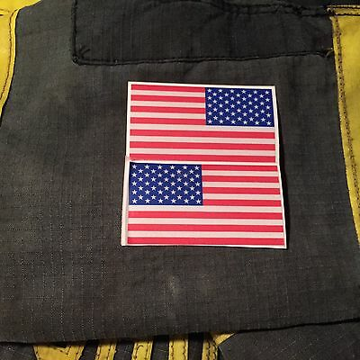 "Reflective American Flags Mirrored 3""- FIREFIGHTER HELMET FIRE HELMET STICKER"