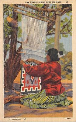 """""""How Navajo Rugs Are Made"""" Native American Indian Weaver Woman Vintage Postcard"""