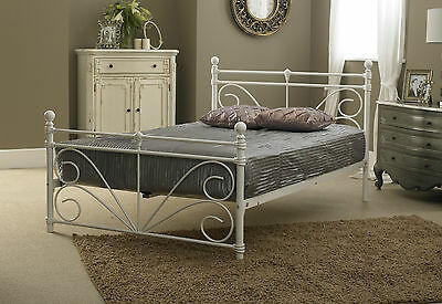 BRAND NEW 4ft Small Double Metal Bed Frame in White with Sprung Slats