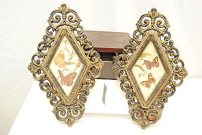 Set of 2 Triangle Homco Home Interior Butterfly Wall Plaques