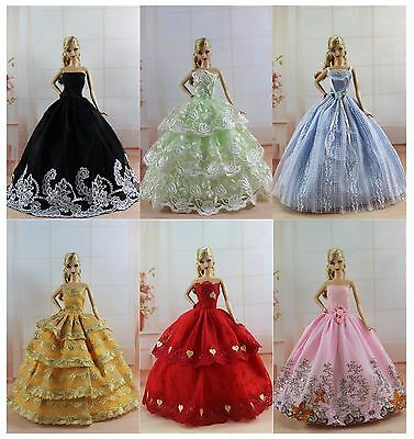 Lot 16 items = 6 PCS Dress/Wedding Clothes/Gown+10 Shoes For Barbie Doll S188